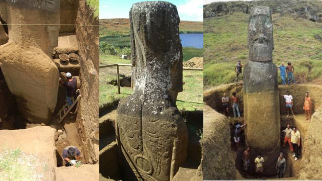 智利复活岛摩艾巨像身体上有象形文字